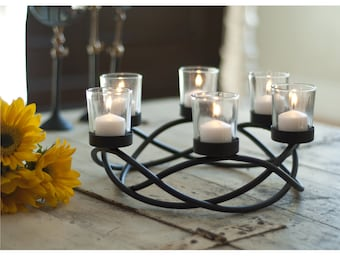 Round Waves Candleholder Tabletop Centerpiece Ornament Iron & Glass Contemporary Home Decor Danya B™ KF102