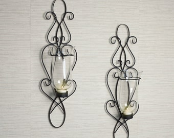 Baroque Candle Holder Wall Sconce Set of 2 Handmade Contemporary Style Home Decor Danya B™ KF360