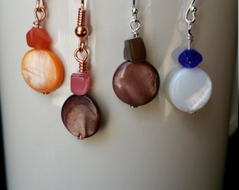 Natural Rivershell Coin Earrings