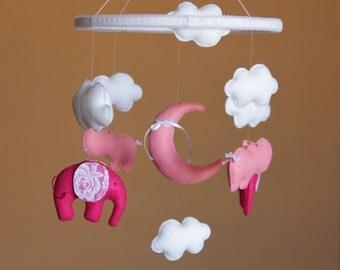 Baby Mobile Safari Mobile Baby Girl Mobile Pink Mobile Pink Hippo Mobile  Nursery Mobile Pink Nursery Decor Crib Mobile Baby Shower Gift
