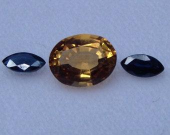 Citrine/Blue Sapphire combo - Natural Stones!!