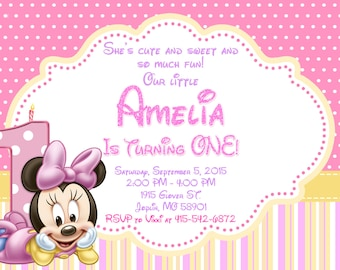 Baby Minnie Mouse Invitation Birthday - Baby Minnie Mouse Party