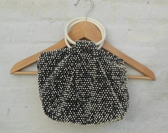 60s vintage mod beaded purse handbag
