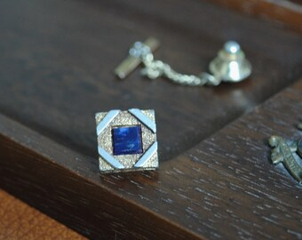 Silver Tone on Gold Tone Square Tie Pin / Stud with Dark Blue Stone