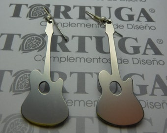 Guitar, earrings stainless steel.