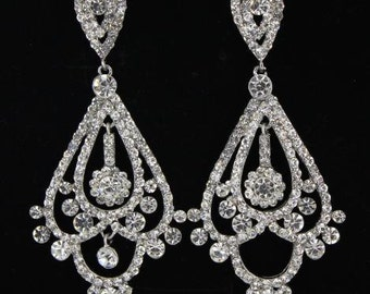 Crystal Chandelier Earrings|202-13| Crystal Earrings|Long Crystal Earrings|Crystal Pageant Earrings|Chandelier Earrings|Bling Jewelry