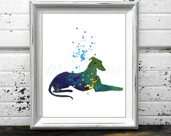 Greyhound 1 watercolor style PRINT, Laying Grey hound painting, Dog Watercolor, Gray Hound silhouette, Hound poster, watercolour wall art