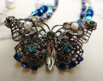 Vintage Filigree Rhinestone and Faux Pearl Butterfly Brooch Assemblage Necklace - NRU042