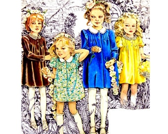 """1980 Simplicity 9344 Child's and Girls' """"Cinderella"""" licensed A-Line Dress with Button Trim and Peter Pan Collar Sewing Pattern Size 6"""