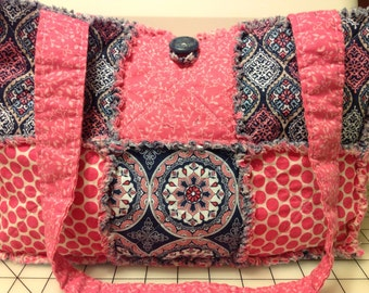 Pink and Blue Handmade Quilted Rag Purse