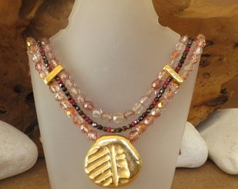 "Necklace 'Lilly"" statement necklace/ beaded /handmade/gold plated"