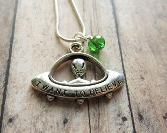 Alien Necklace, Flying Saucer, UFO,  I Believe, Alien Jewelry, Alien Pendant, Flying Saucer Pendant, UFO, Aliens, Extraterrestrial