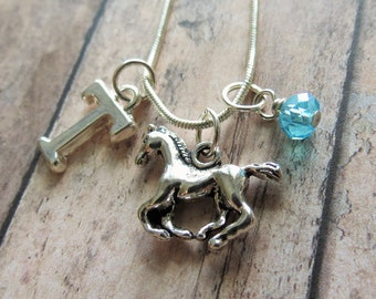 Horse Necklace, Horse Charm Necklace, Silver Horse, Pendant, Initial Charm, Birthstone, Personalized, Horse Gift, Equestrian Gift