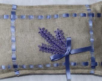 Hand made Hessian Lavender cushion
