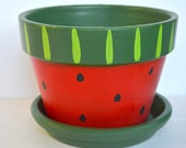 Hand Painted Cute Clay Planter ~ Watermelon Design