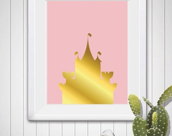 PRINCESS CASTLE Design Two in Pink and Gold Digital Art Printable Download 8X10 11X14