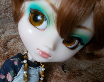 OOAK Tiger Eye and Seed Pearl  9KT GP Necklace for Pullip,Dal,Blythe and 1/6 Dolls