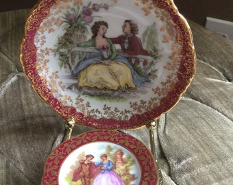 FREE SHIPPING! 2 Limoges France collectable plates, including brass stand.