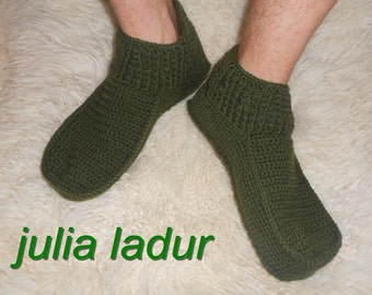Wool slippers for men, bedroom shoes, green, knitted, warm slippers, socks, shoes for home, for men