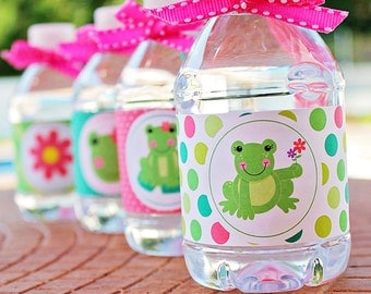 Spring Frog Printable Water Bottle Wrappers, Girl Frog Party Bottle Labels, Instant Download, Girl Frog Birthday Party Printable Wrappers