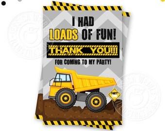 Dump Truck Construction Printable Thank You, 4X6 Construction Party Thank You Note, Dump Truck Party Printable Thank You, Construction Note