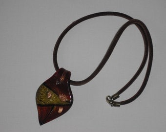 "Chain with ""Leaf"" - brown - glass pendant jewelry"