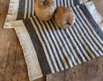 Linen placemats, set of 6 linen placemats, striped placemats, rustic placemats, country placemats, natural placemats by Linenbee