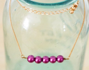 All Lined Up // Plum // Vintage Upcycled and Repurposed Necklace