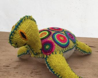 Yellow Tourtle pet - Handmade wool thread animal -
