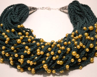 Green Crocheted Necklace With Golden Beads