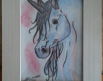 Framed drawing of an unicorn