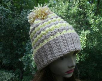Yellow Tan Child's Hand Crochet Pom Pom Hat Medium to Large