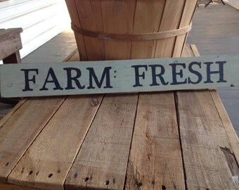 FARM FRESH, hand painted wood sign, country decor, farm kitchen sign, kitchen decor