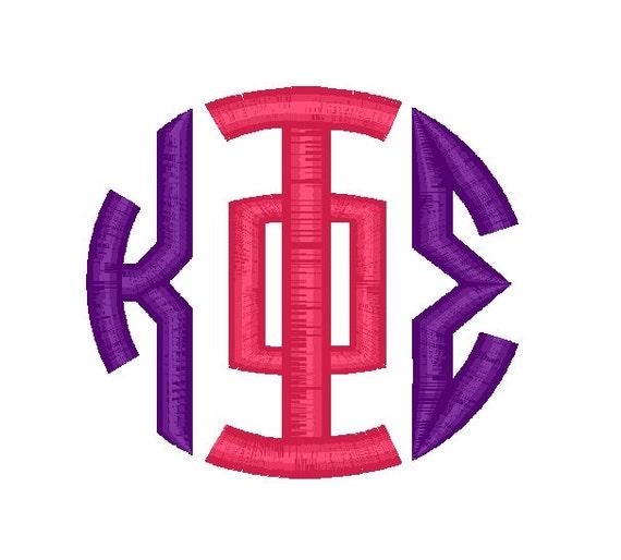 12 Sizes Greek Circle Monogram Font Embroidery Pattern Three
