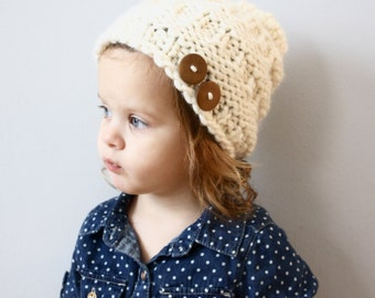 Knit Chunky Slouchy Toddler Kids Hat with Buttons {MELINA}