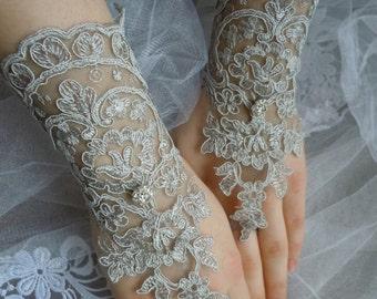 Grey lace gloves, wedding glove , bridal gloves, fingerless, accessories