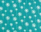 Premier Prints Small Dandelion in True Turquoisel/White Twill Home Decor fabric, 1 yard