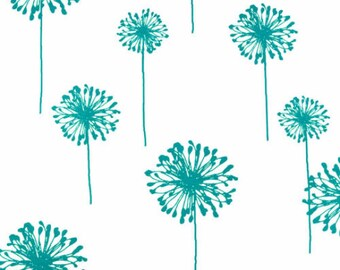 Premier Prints Dandelion in White/True Turquoise Home Decor fabric, 1 yard