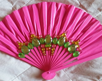 hot pink, jeweled handheld fan