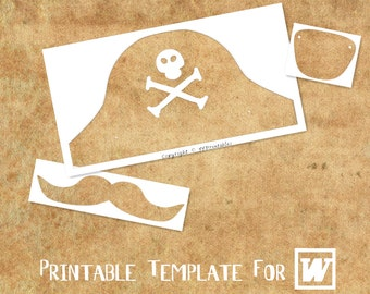 Eye patch etsy for Diy pirate hat template