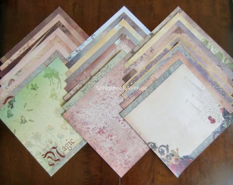 "DCWV Once Upon A Time Stack LOT of 24 Sheets of 12"" x 12"" Scrapbook Printed Cardstock"