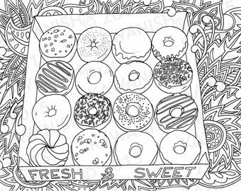 donuts doughnuts adult coloring page gift wall art