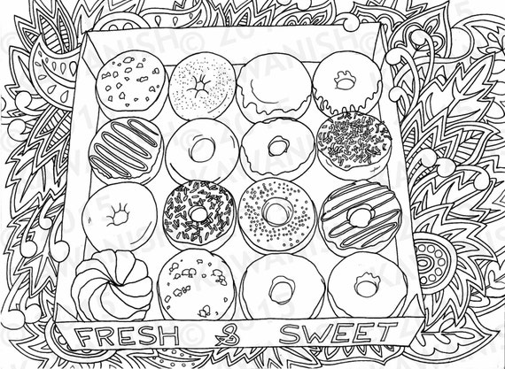 donuts doughnuts adult coloring page gift wall art - Donuts Coloring Pages