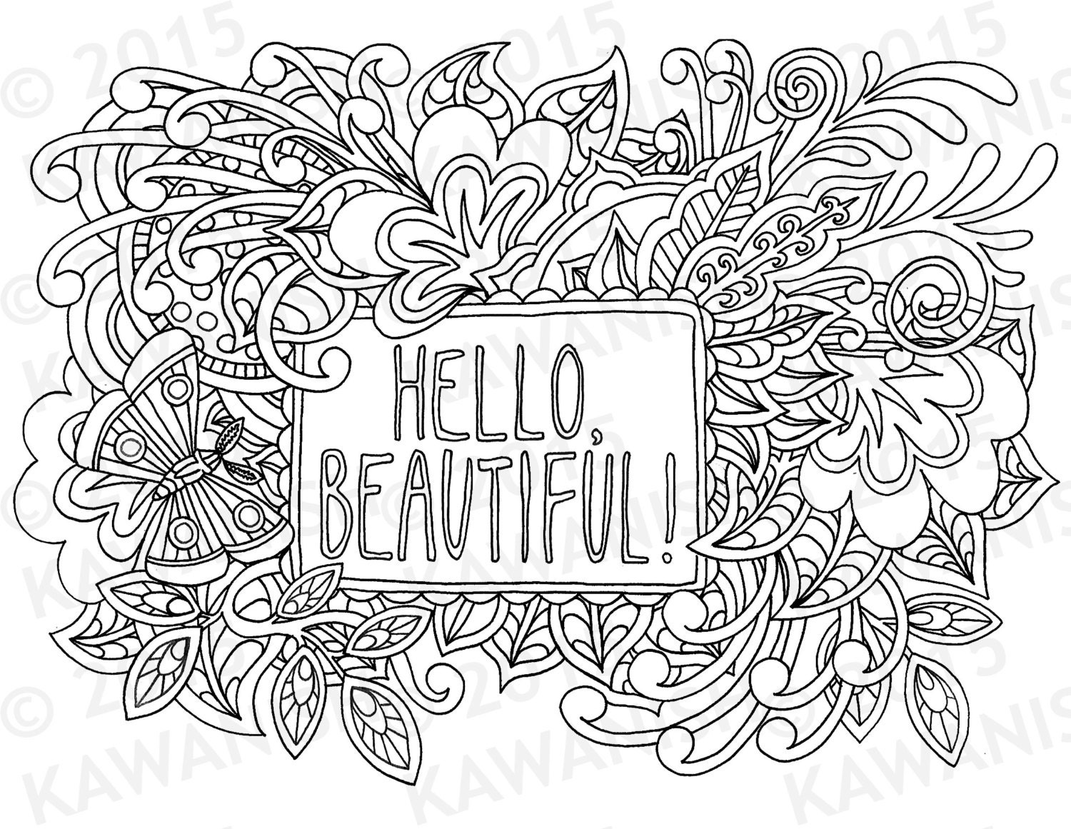 hello beautiful adult coloring page gift wall art zentangle