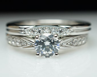 Vintage Style Diamond Engagement Ring Matching Wedding Band in White Gold, Yellow Gold, or Rose Gold Milgraine Finish Vintage Bridal Set