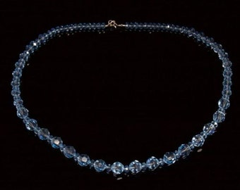 Graduated Blue Quartz Silver Necklace