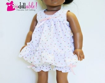 American made Girl  Doll Clothes, 18 inch Girl Doll Clothing, Doll Pajamas made to fit like American girl doll clothes