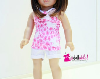 American made Girl Doll Clothes, 18 inch Doll Clothing, Leopard Spotted Halter, White shorts made to fit like American girl doll clothes