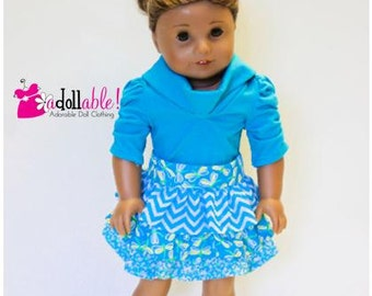 American made Girl Doll Clothes, 18 inch Girl Doll Clothing, Turquoise Skirt, Turq Muse Shirt made to fit like American girl doll clothes