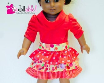 American made Girl Doll Clothes, 18 inch Doll Clothing, Orange Skirt and Muse Shirt, made to fit like American girl doll clothes